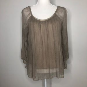 Ambra silk taupe flowy blouse, size S